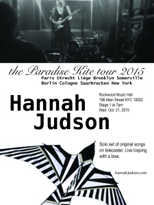 Hannah Judson last date of the Paradise Kite tour 2015.;